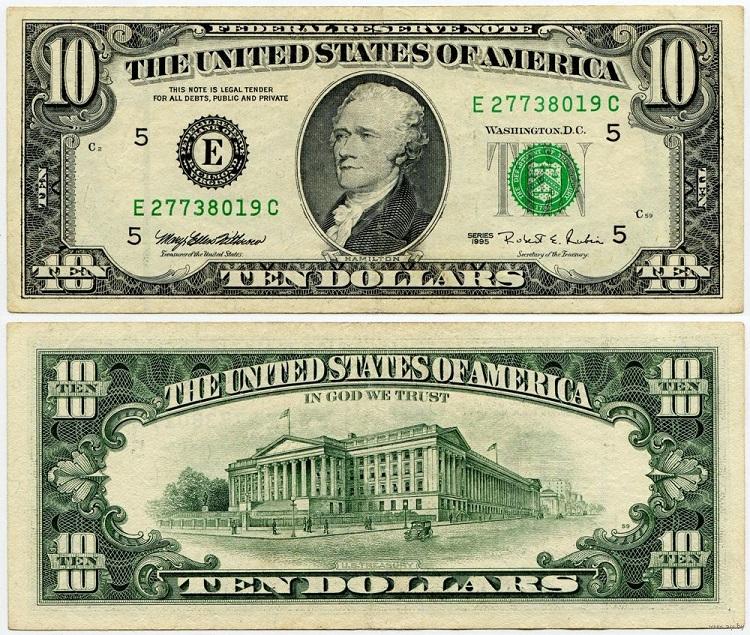 Купюра 10 долларов
