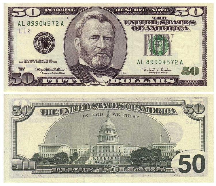 Купюра 50 долларов